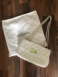 Russell & Bromley Bag White Gold Chain Strap Double Quilted Leather Designer