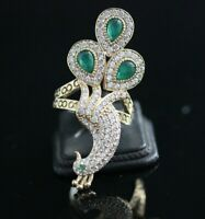925 Sterling Silver Handmade Authetic Turkish Emerald Ladies Ring Size 6-9