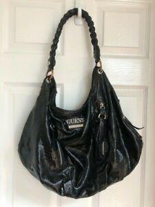 Guess Ladies' Black Patent Snakeskin Effect Oversized Shoulder Bag