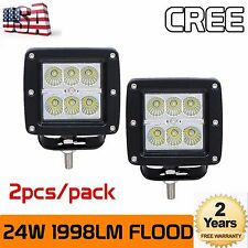 2X 24W CREE LED Work Light 3 Inch Flood Lamp Cube Pod Offroad 4WD Driving Truck