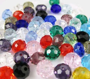100PC Mixed color Faceted Rondelle glass crystal beads 4x6mm