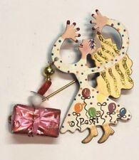 Fun Gold Tone Painted Metal Lady Balloons Gift Box Dangle Hat Stick Pin