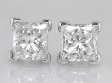 1.50ct Certified D IF VG Princess Cut Diamond Solitaire Platinum Stud Earrings