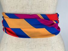 Vintage 1980's Striped Cummerbund Tuxedo Belt Colorful