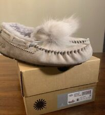 UGG DAKOTA POM POM 1019015 SEAL SZ 6 NEW EXCLUSIVE COLOR WOMAN SLIPPER AUTHENTIC