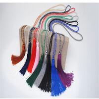 Boho Women' Crystal Beaded Necklace Long Tassel Pendant Sweater Chain Jewelry
