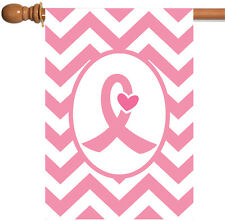 New Toland - Pink Ribbon - Chevron Heart Support Breast Cancer House Flag