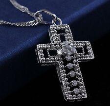 18ct 18k White Gold GF Cross Pendant Necklace w/ Simulated Diamond 18ct gf