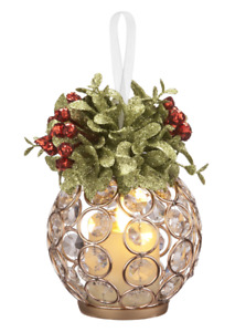 Kissing Krystals Christmas Gold Clear Gem LuxuryLite Candle Mistletoe Ornament
