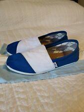 TOMS Blue/White Canvas Mems Shoe Sz 8 Blue White