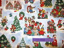 Suzy's Zoo Christmas Suzy Caroling Friends Blue Cotton Fabric BY THE HALF YARD