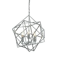 Searchlight Cube 3 Lights LED Chrome Geometric Cube Frame Pendant Ceiling Light