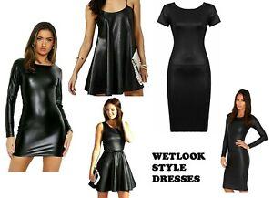 Women Ladies Long Cap Cami Strap Sleeve Wetlook PVC Faux Leather mini mini Dress