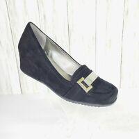 Unisa Black Faux Suede Wedge Heel Shoes Size 8.5 M Womens Comfort