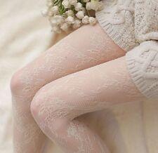 Women Creamy Beige Flower floral Fancy retro Pantyhose Fish Net Stockings tights