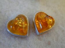 Baltic amber earrings Hearts,  light honey sugar color