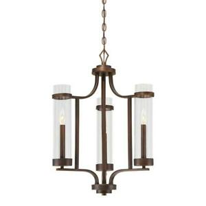 Millennium Milan Collection 3-Light Rubbed Bronze Chandelier with Clear Glass