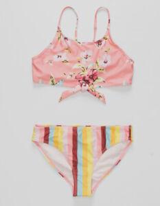 $125 Volcom Kid's Girl's Pink Floral/Stripe Two-Piece Swimsuit Swimwear SIze 12