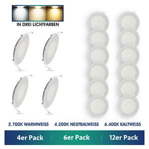 4 6 12 LED Einbaustrahler 3W Set Einbau-Leuchten ultraflach Lampe Strahler Spot
