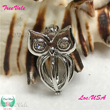 Still Owl - Pearl Cage Pendant - Silver Plated Fun Gift!!