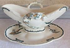 Creil Montereau silhouettes chevre poussin saucière faience  ceramic sauceboat
