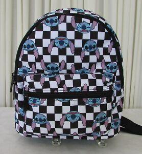 Disney Bioworld Stitch Mini Backpack Checkered Black & White NWT