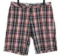 Tommy Hilfiger Shorts Mens Size 36 Red Blue Plaid Flat Front