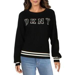 DKNY Womens Black Striped Trim Knit Top Crewneck Sweater Shirt L BHFO 0869