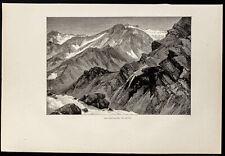 1880 - Les montagnes de neige des Rocheuses - États-unis - Gravure sur bois