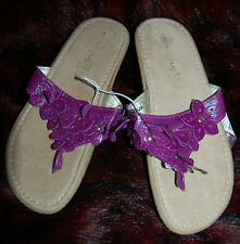 New Sz 5 Faux Leather Thong Sandals with thick rubber sole & purple floral strap