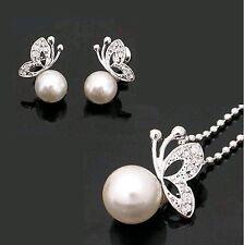 SET Schmetterling Kette Ohrstecker Ohrringe Strass silber-farbig Perle Necklace
