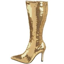 BRAND NEW Funtasma Gold Sequin LUST Boots - Size: 10M
