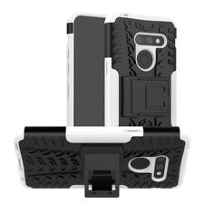 For LG G8/G8x ThinQ Shockproof Ring Stand Hard Rubber Case Cover+Tempered Glass