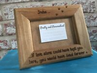 Personalised Wooden Photo Frame Dog Pet Loss Memorial Cat Any Message Engraved