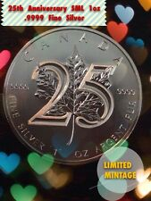 "2013 1oz ""Canadian Maple Leaf 25th Anniversary"" .9999 Silver Coin 