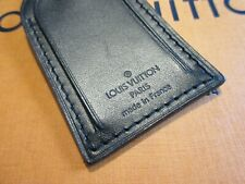 Authentic Louis Vuitton Large Black Leather Luggage Tag w/ Brass hw
