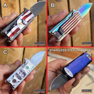 POCKET FOLDING Lighter Holder KNIFE 440 Stainless Steel EDC Multi-Tool