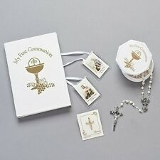 Girls White Gold MY First Communion 5 PC Gift Set Missal Rosary Cross Pin Case