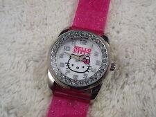 Women's SANRIO Silvertone Rhinestone HELLO KITTY Pink Vinyl Band Watch (D50)