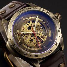 Men's Automatic Mechanical Skeleton Bronze Leather Band Analog Wrist Sport Watch