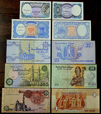 Africa EGYPT - 5, 10, 25, 50 Piasters, 1 Pound - Set of 5  Banknotes - all UNC