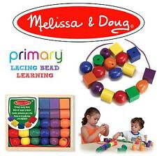 Melissa & Doug Wooden Primary Lacing Beads Threading Preschool Early Learning