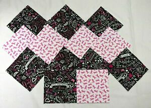 BREAST CANCER FABRICS 5 Inch Quilt Squares  (24 Total Squares)