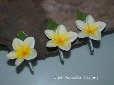Silk Flower Wedding Button Hole Set - Frangipani White x 3 - Bridal - Groom