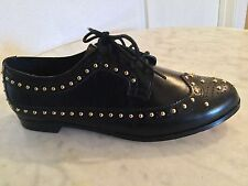 "Dune ""Lakota"" Black Leather Studded Lace Up Brogue Flat Shoes Women's Size 37"