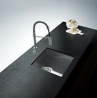 "23""  Handmade Stainless Steel  Under mount Single Bowl Sink Zero Radius / Bar/"