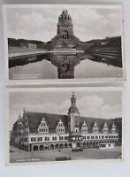2x LEIPZIG alte Postkarten gelaufen frankiert 1952 mit Rathaus Völkerschlacht D.