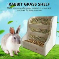 Rabbit Totoro Guinea Pig Hay Wooden Feeder Straw Frame Feeder Natural Pine O2R0