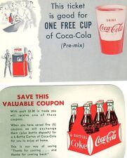 COCA-COLA LOT OF (2) TICKET/COUPONS MINT FROM OLD STORED STOCK