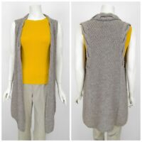 Womens Massimo Dutti Long Knit Cardigan Jumper Vest Grey Wool Alpaca Size M